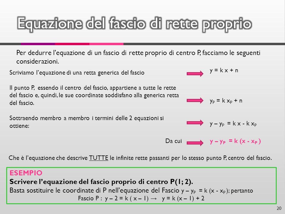 Per dedurre lequazione di un fascio di rette proprio di centro P, facciamo le seguenti considerazioni. Scriviamo lequazione di una retta generica del