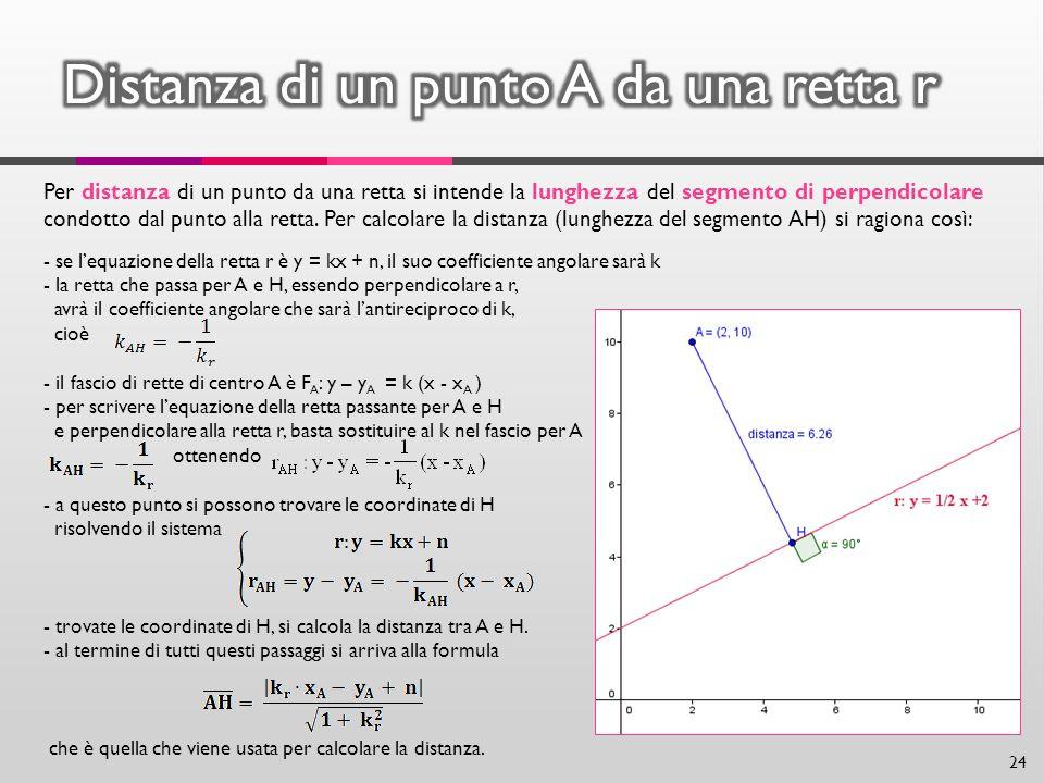 24 Per distanza di un punto da una retta si intende la lunghezza del segmento di perpendicolare condotto dal punto alla retta. Per calcolare la distan