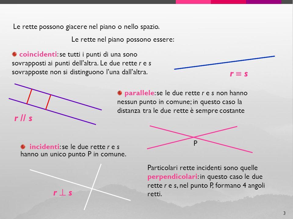 Le rette possono giacere nel piano o nello spazio. coincidenti: se tutti i punti di una sono sovrapposti ai punti dellaltra. Le due rette r e s sovrap
