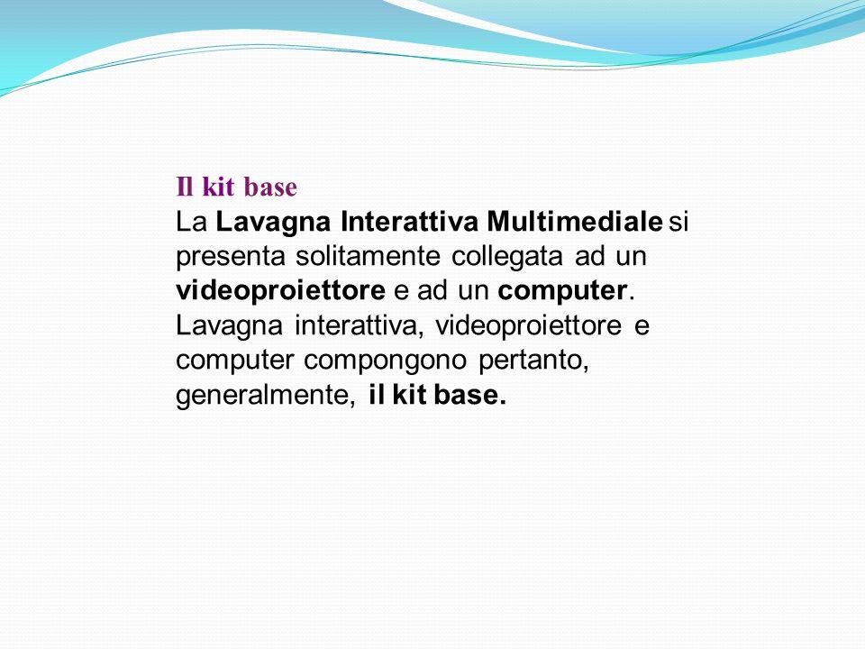 Il kit base La Lavagna Interattiva Multimediale si presenta solitamente collegata ad un videoproiettore e ad un computer.