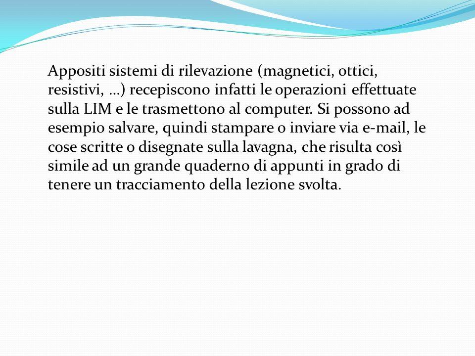 Appositi sistemi di rilevazione (magnetici, ottici, resistivi, …) recepiscono infatti le operazioni effettuate sulla LIM e le trasmettono al computer.