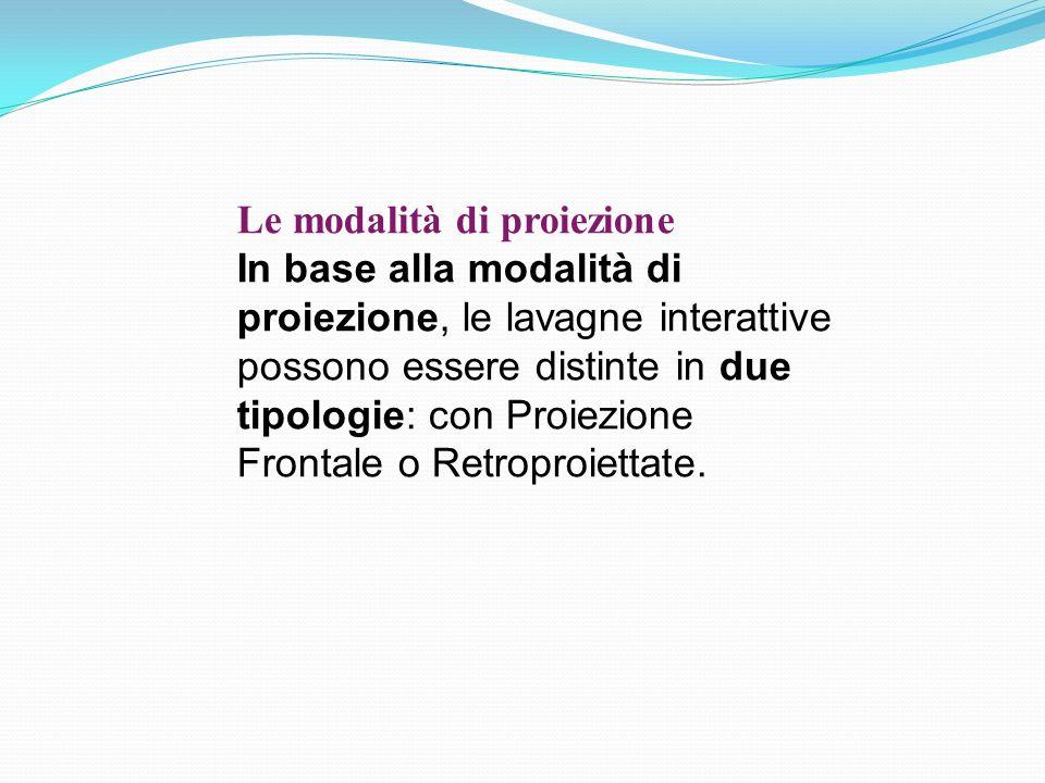 Le modalità di proiezione In base alla modalità di proiezione, le lavagne interattive possono essere distinte in due tipologie: con Proiezione Frontale o Retroproiettate.