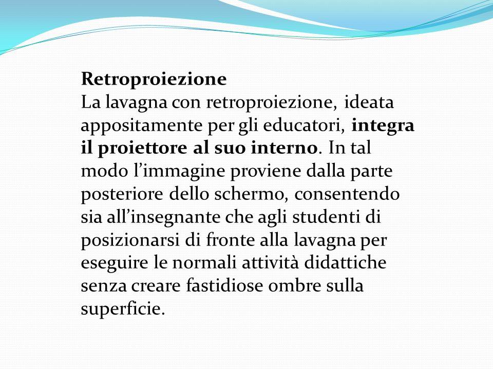 Retroproiezione La lavagna con retroproiezione, ideata appositamente per gli educatori, integra il proiettore al suo interno.