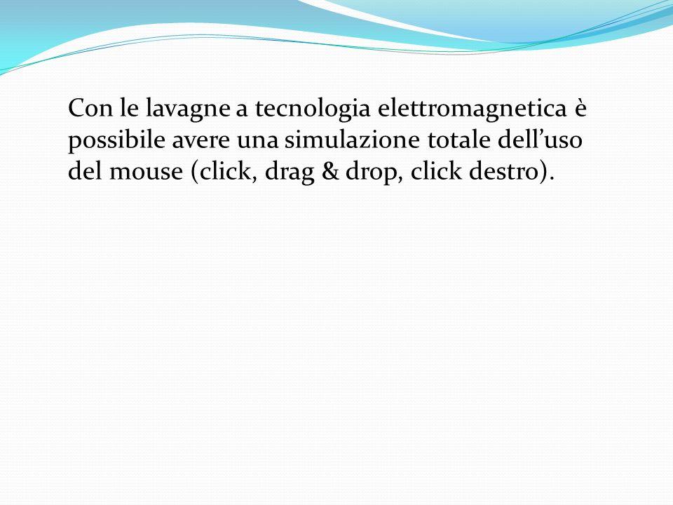 Con le lavagne a tecnologia elettromagnetica è possibile avere una simulazione totale delluso del mouse (click, drag & drop, click destro).