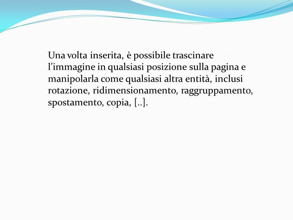 Una volta inserita, è possibile trascinare limmagine in qualsiasi posizione sulla pagina e manipolarla come qualsiasi altra entità, inclusi rotazione, ridimensionamento, raggruppamento, spostamento, copia, [..].