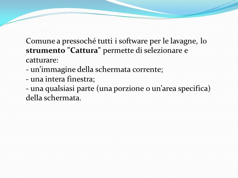 Comune a pressoché tutti i software per le lavagne, lo strumento Cattura permette di selezionare e catturare: - unimmagine della schermata corrente; - una intera finestra; - una qualsiasi parte (una porzione o unarea specifica) della schermata.