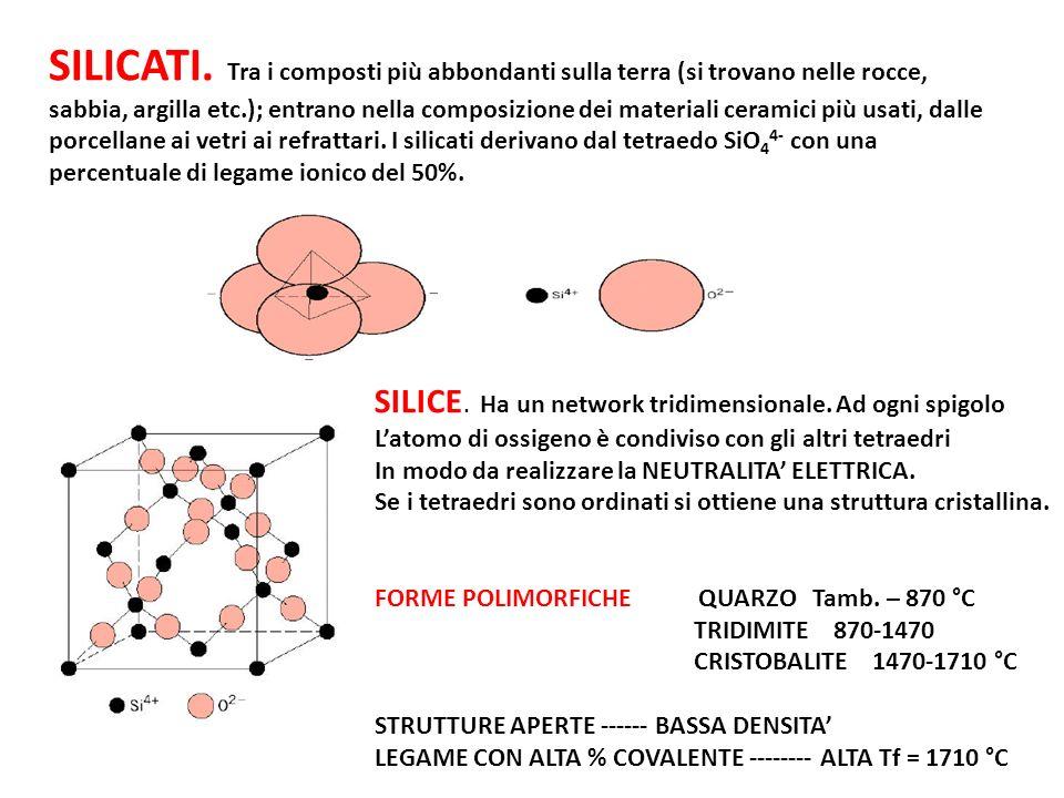 VETRI SILICE (SODIOSILICATI) La silice in forma non cristallina, cioè non ordinata.