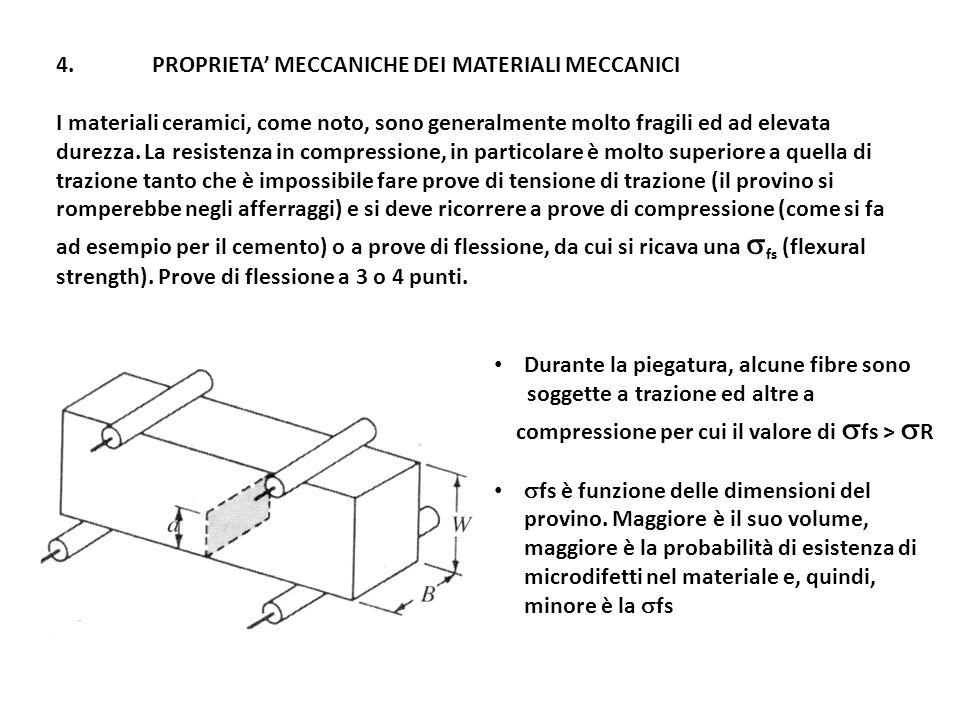 4.PROPRIETA MECCANICHE DEI MATERIALI MECCANICI I materiali ceramici, come noto, sono generalmente molto fragili ed ad elevata durezza.