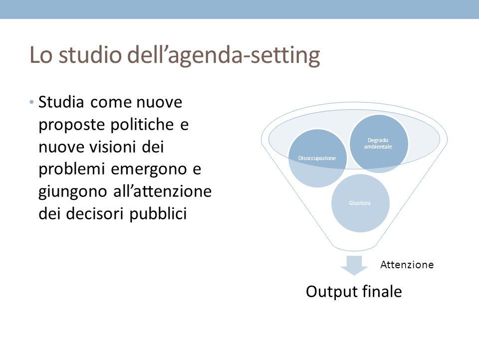 Lo studio dellagenda-setting Studia come nuove proposte politiche e nuove visioni dei problemi emergono e giungono allattenzione dei decisori pubblici Output finale GiustiziaDisoccupazione Degrado ambientale Attenzione