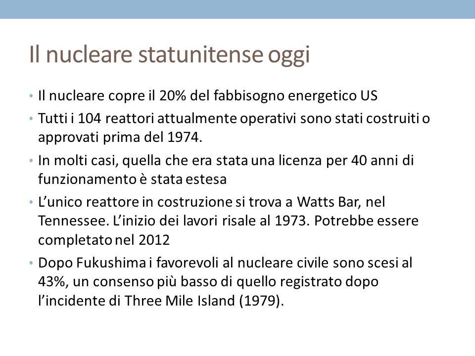 Il nucleare statunitense oggi Il nucleare copre il 20% del fabbisogno energetico US Tutti i 104 reattori attualmente operativi sono stati costruiti o approvati prima del 1974.