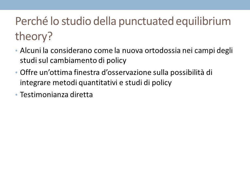 Il lavoro di oggi pomeriggio 1° parte 1.Introduzione alla teoria del punctuated equilibrium 2.