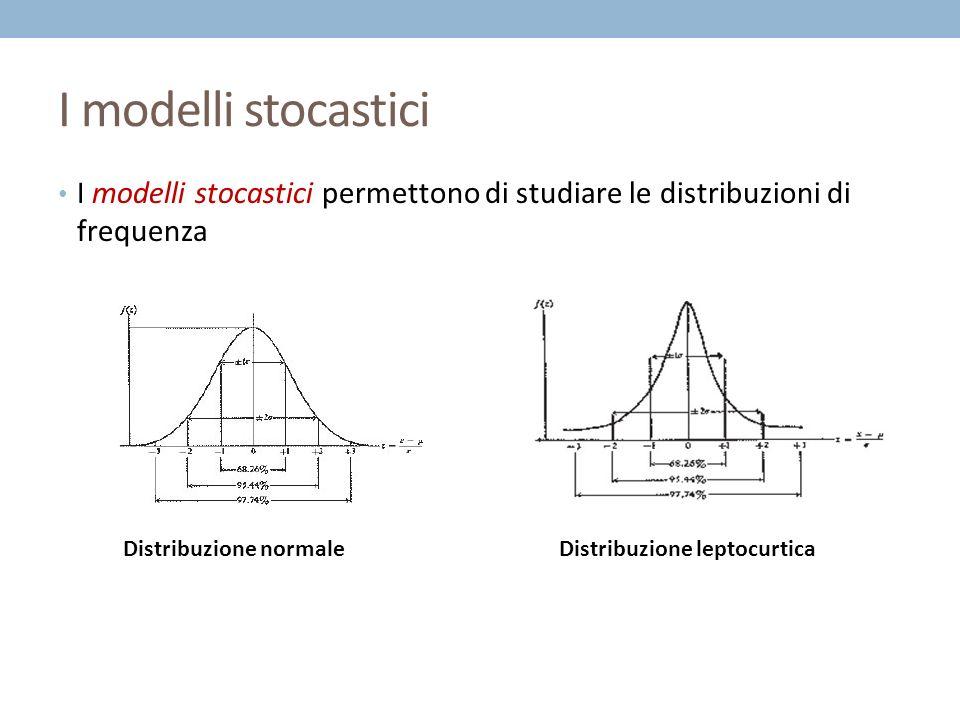 I modelli stocastici I modelli stocastici permettono di studiare le distribuzioni di frequenza Distribuzione normaleDistribuzione leptocurtica