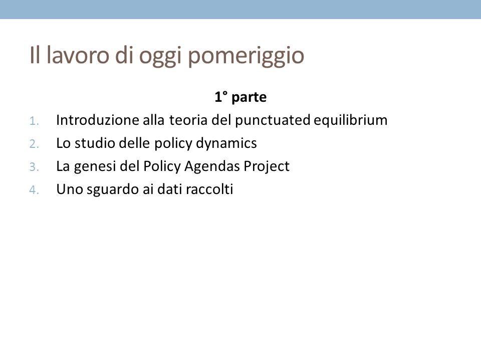 Il lavoro di oggi pomeriggio 1° parte 1. Introduzione alla teoria del punctuated equilibrium 2.