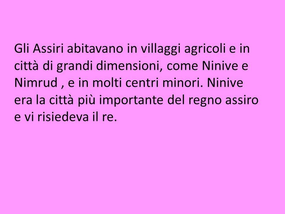 Gli Assiri abitavano in villaggi agricoli e in città di grandi dimensioni, come Ninive e Nimrud, e in molti centri minori. Ninive era la città più imp