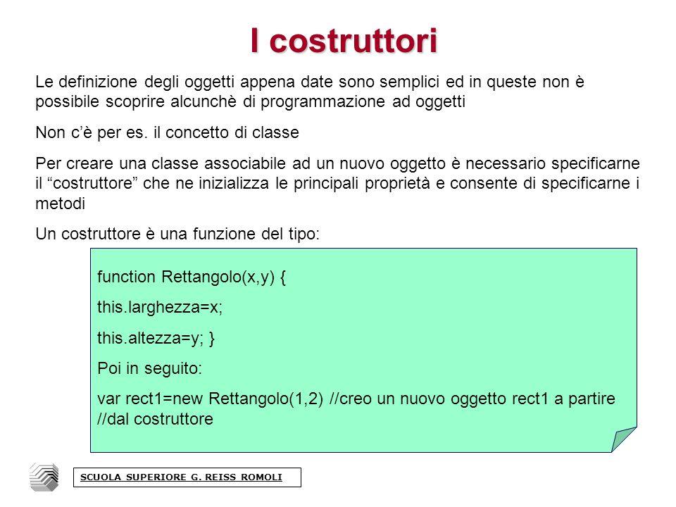 I costruttori Le definizione degli oggetti appena date sono semplici ed in queste non è possibile scoprire alcunchè di programmazione ad oggetti Non cè per es.