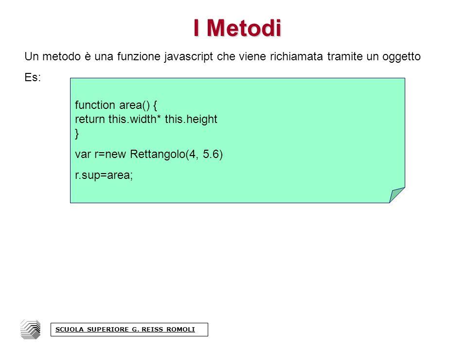 I Metodi Un metodo è una funzione javascript che viene richiamata tramite un oggetto Es: SCUOLA SUPERIORE G.