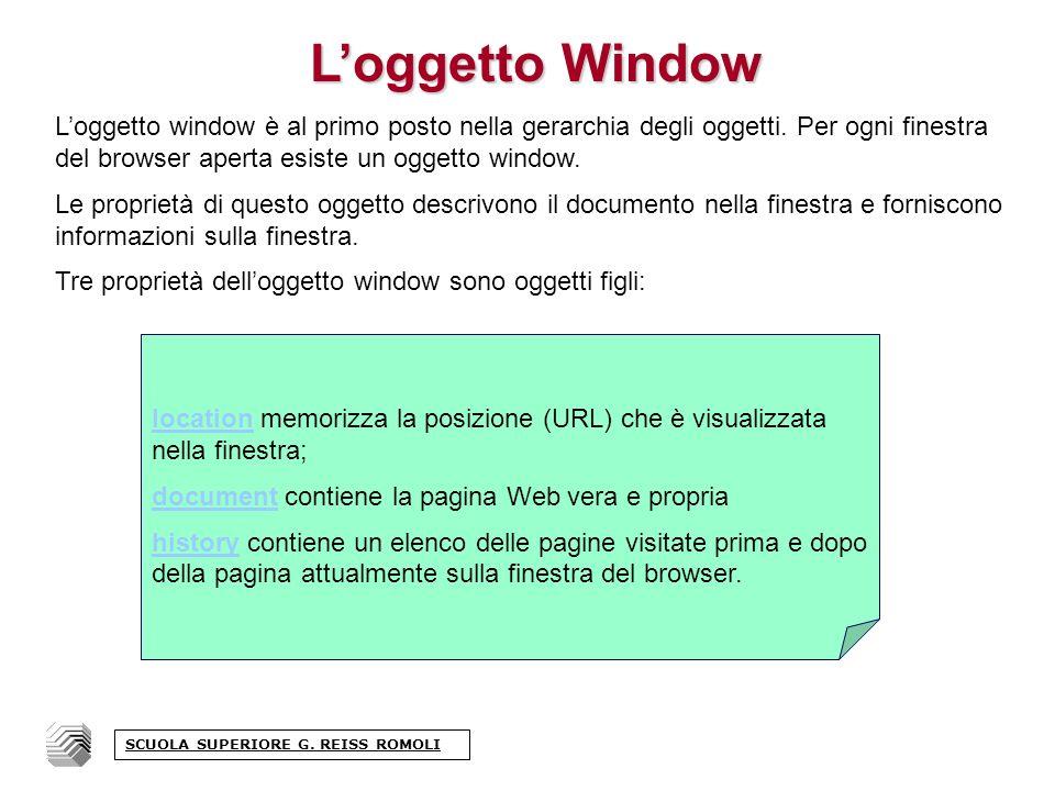 Loggetto Window Loggetto window è al primo posto nella gerarchia degli oggetti.