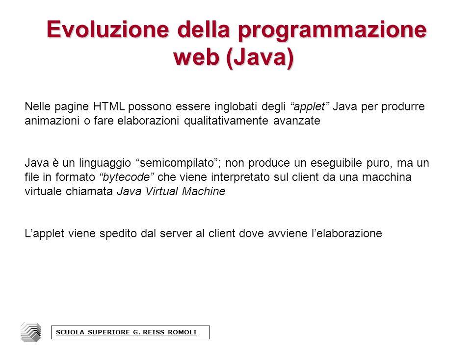 Evoluzione della programmazione web (COM) Lelaborazione lato server può avvenire anche tramite Componenti, blocchi di codice indipendente compilato quindi non visibile dallesterno.