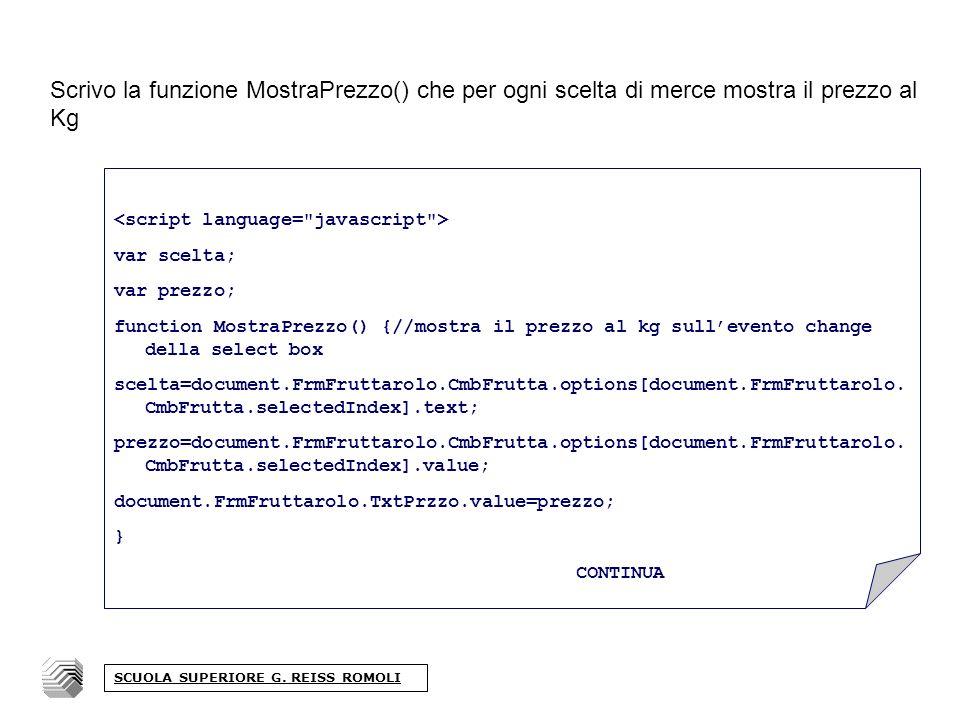 Scrivo la funzione MostraPrezzo() che per ogni scelta di merce mostra il prezzo al Kg SCUOLA SUPERIORE G.