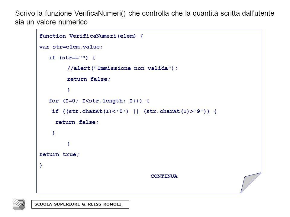 Scrivo la funzione VerificaNumeri() che controlla che la quantità scritta dallutente sia un valore numerico SCUOLA SUPERIORE G.