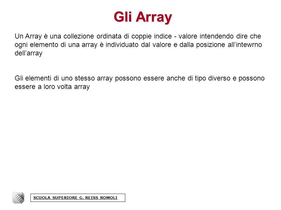 Gli Array Un Array è una collezione ordinata di coppie indice - valore intendendo dire che ogni elemento di una array è individuato dal valore e dalla posizione allintewrno dellarray Gli elementi di uno stesso array possono essere anche di tipo diverso e possono essere a loro volta array SCUOLA SUPERIORE G.