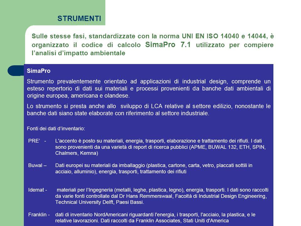 Sulle stesse fasi, standardizzate con la norma UNI EN ISO 14040 e 14044, è organizzato il codice di calcolo SimaPro 7.1 utilizzato per compiere lanali