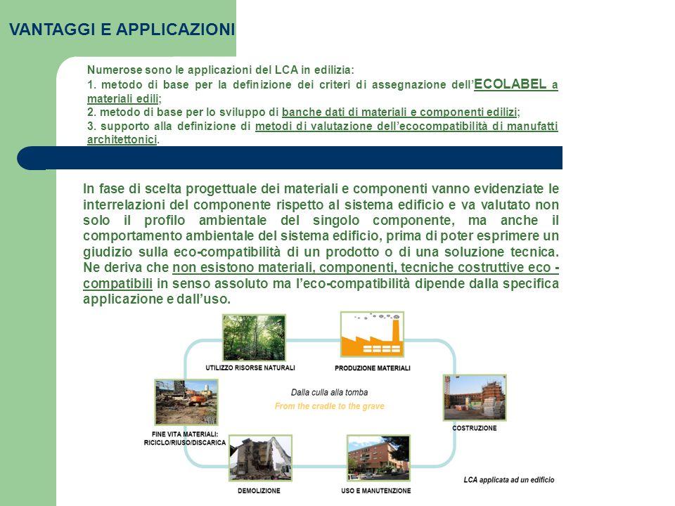 VANTAGGI E APPLICAZIONI Numerose sono le applicazioni del LCA in edilizia: 1. metodo di base per la definizione dei criteri di assegnazione dell ECOLA