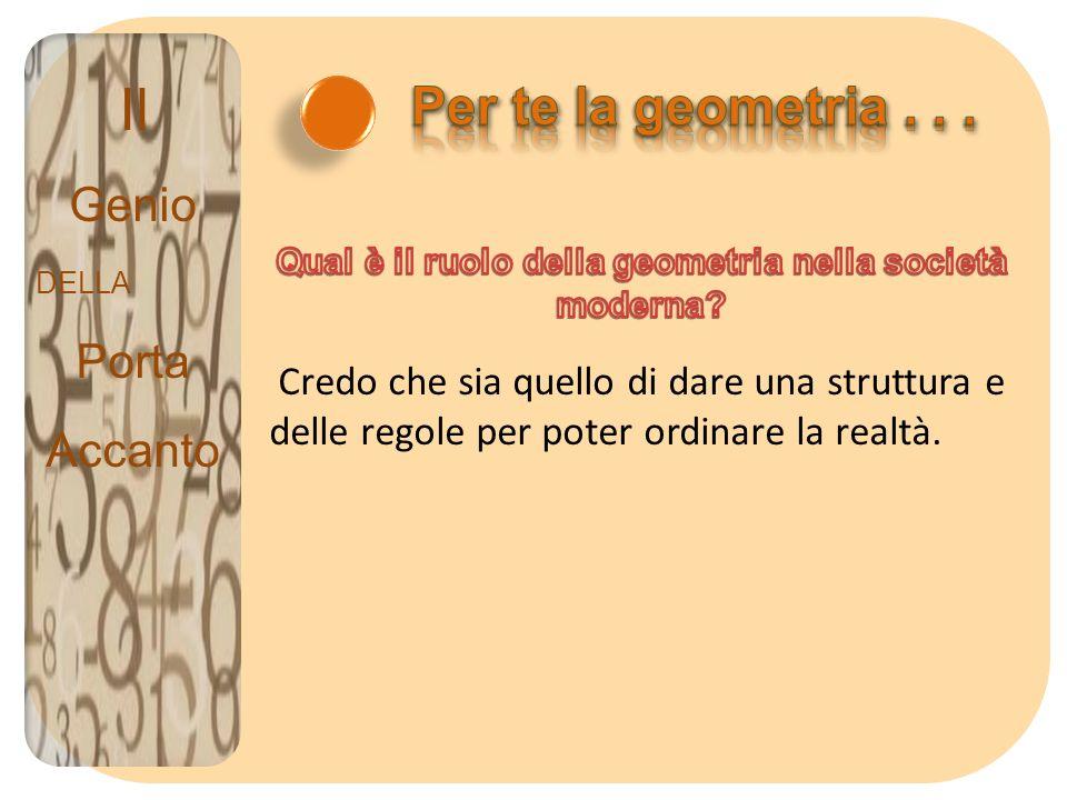 Il Genio DELLA Porta Accanto Credo che sia quello di dare una struttura e delle regole per poter ordinare la realtà.