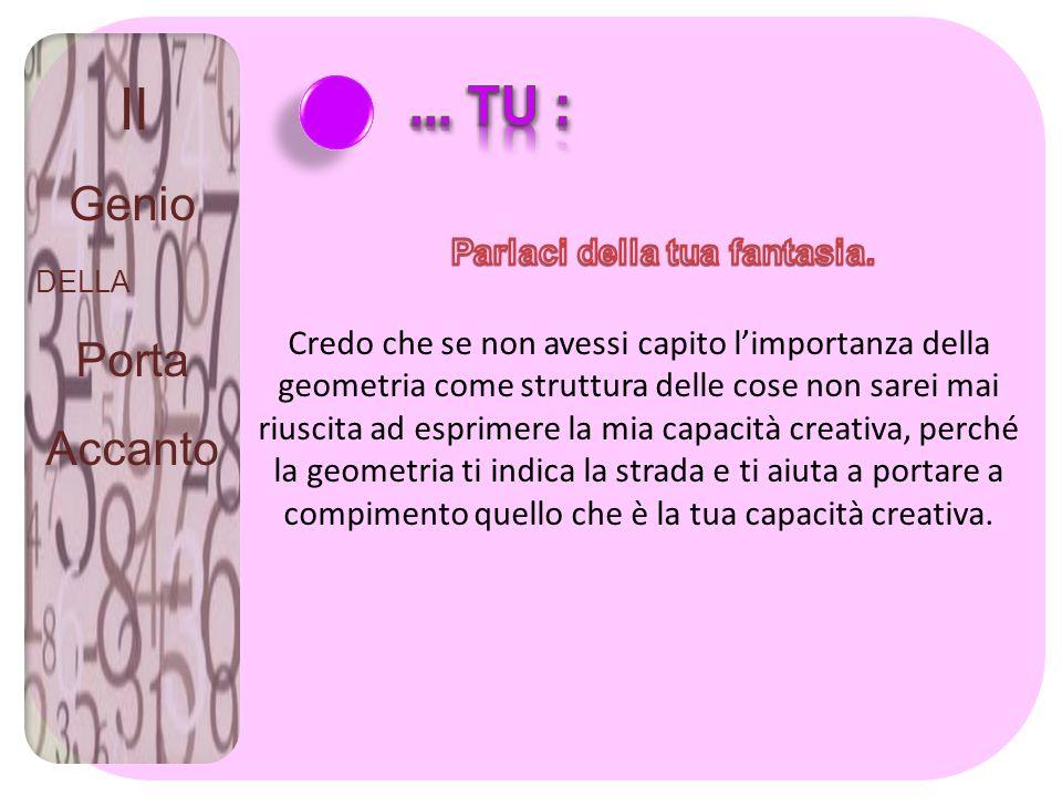 Il Genio DELLA Porta Accanto Credo che se non avessi capito limportanza della geometria come struttura delle cose non sarei mai riuscita ad esprimere