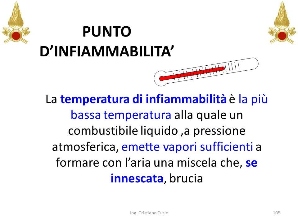 105 PUNTO DINFIAMMABILITA La temperatura di infiammabilità è la più bassa temperatura alla quale un combustibile liquido,a pressione atmosferica, emet