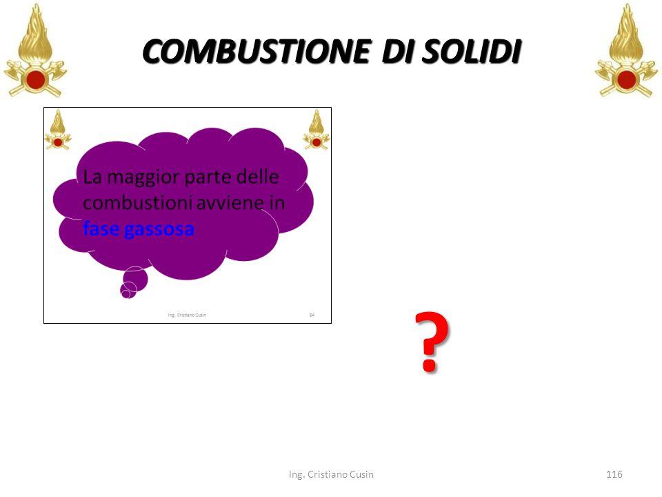 Ing. Cristiano Cusin116 COMBUSTIONE DI SOLIDI ?
