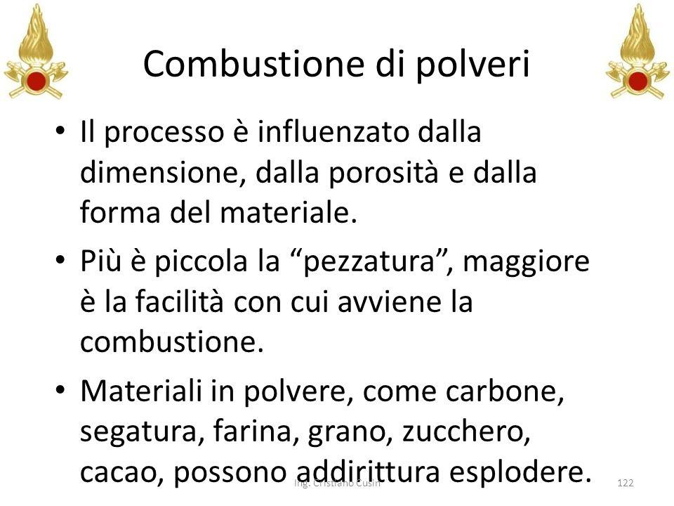 Combustione di polveri Il processo è influenzato dalla dimensione, dalla porosità e dalla forma del materiale. Più è piccola la pezzatura, maggiore è
