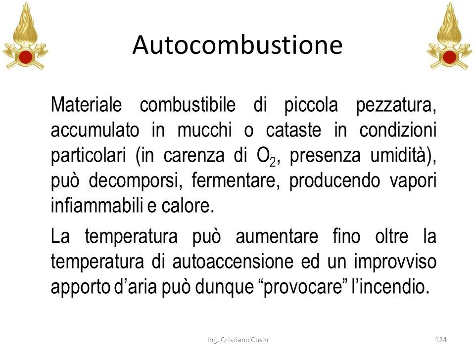 Autocombustione 124Ing. Cristiano Cusin Materiale combustibile di piccola pezzatura, accumulato in mucchi o cataste in condizioni particolari (in care
