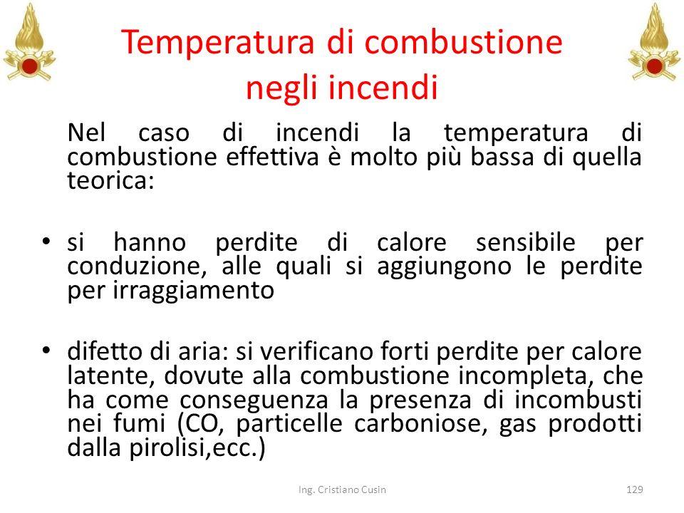 Temperatura di combustione negli incendi Nel caso di incendi la temperatura di combustione effettiva è molto più bassa di quella teorica: si hanno per