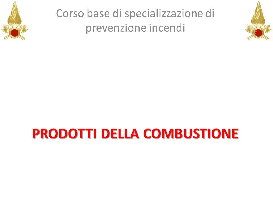 PRODOTTI DELLA COMBUSTIONE Corso base di specializzazione di prevenzione incendi 137