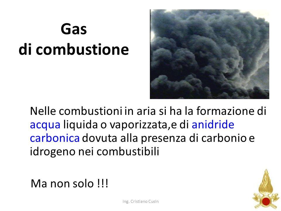 143 Gas di combustione Nelle combustioni in aria si ha la formazione di acqua liquida o vaporizzata,e di anidride carbonica dovuta alla presenza di ca