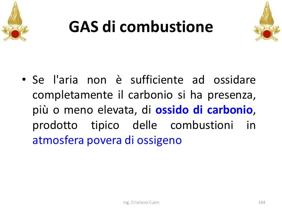 144 GAS di combustione Se l'aria non è sufficiente ad ossidare completamente il carbonio si ha presenza, più o meno elevata, di ossido di carbonio, pr