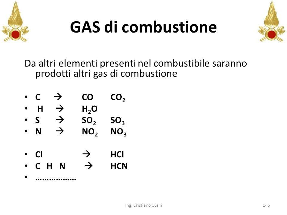 145 Da altri elementi presenti nel combustibile saranno prodotti altri gas di combustione C COCO 2 H H 2 O S SO 2 SO 3 N NO 2 NO 3 Cl HCl C H N HCN ……