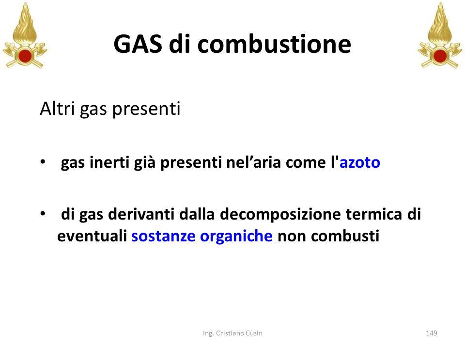 149 Altri gas presenti gas inerti già presenti nelaria come l'azoto di gas derivanti dalla decomposizione termica di eventuali sostanze organiche non