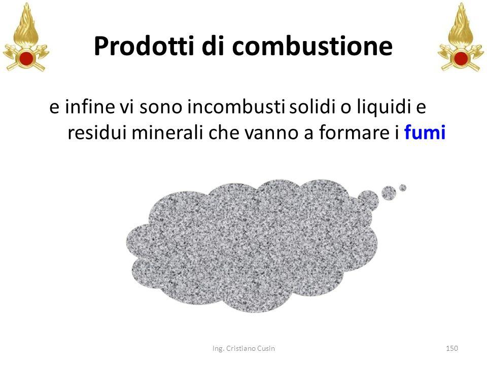150 e infine vi sono incombusti solidi o liquidi e residui minerali che vanno a formare i fumi Ing. Cristiano Cusin Prodotti di combustione