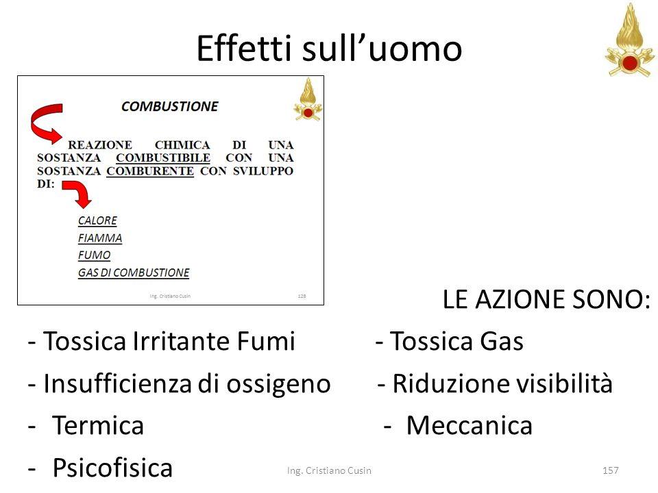 157 Effetti sulluomo LE AZIONE SONO: - Tossica Irritante Fumi - Tossica Gas - Insufficienza di ossigeno - Riduzione visibilità -Termica - Meccanica -P