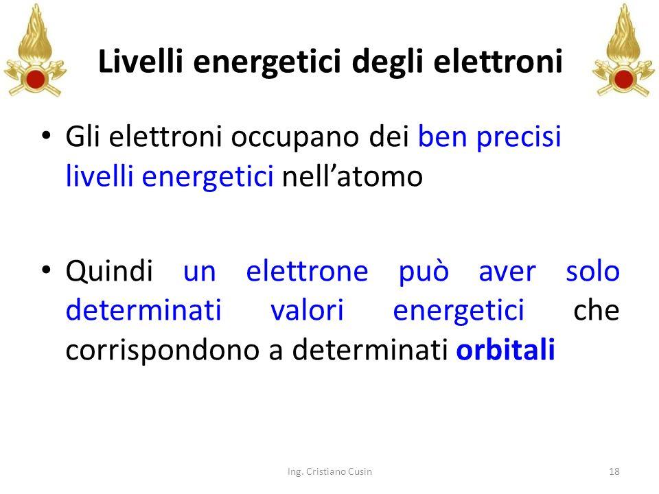 18 Livelli energetici degli elettroni Gli elettroni occupano dei ben precisi livelli energetici nellatomo Quindi un elettrone può aver solo determinat