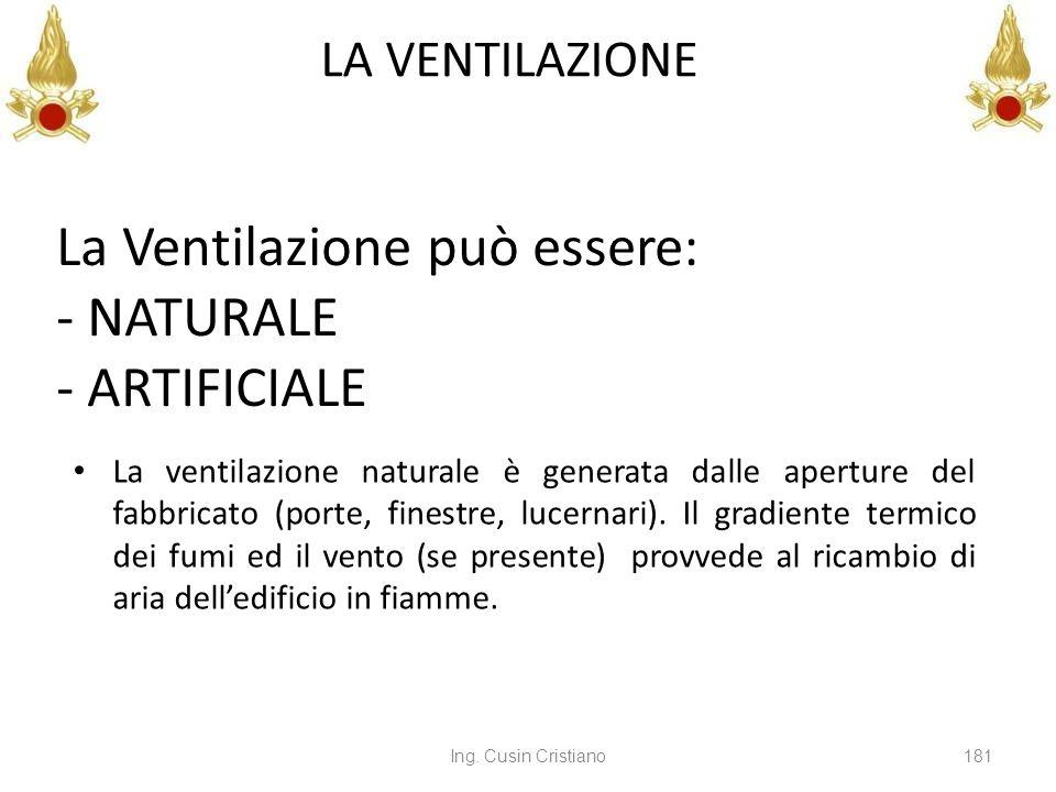 Ing. Cusin Cristiano181 LA VENTILAZIONE La ventilazione naturale è generata dalle aperture del fabbricato (porte, finestre, lucernari). Il gradiente t