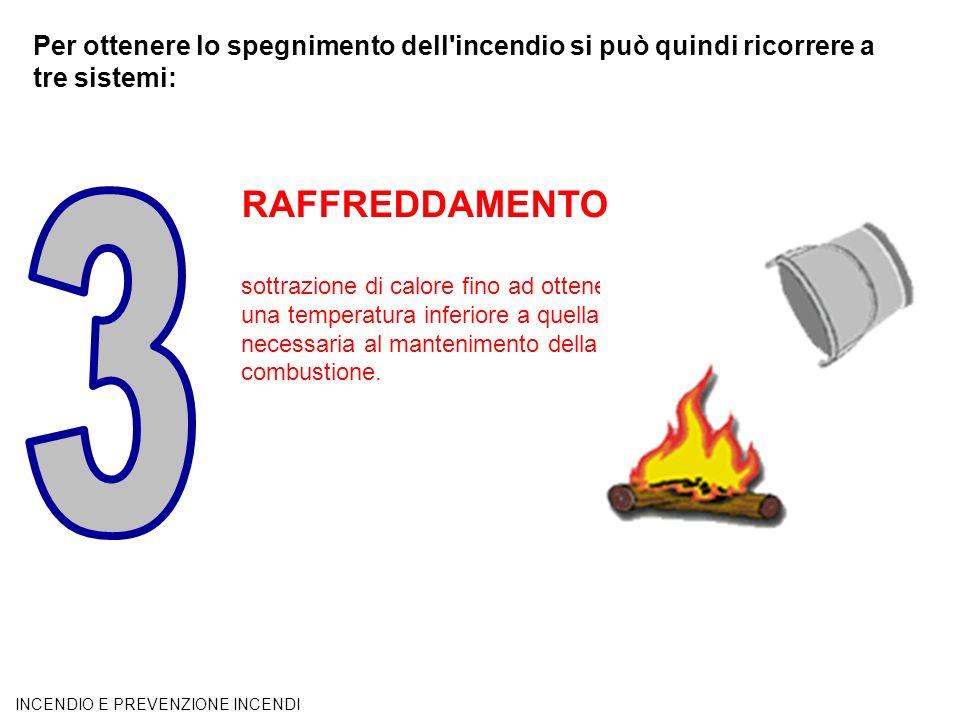 Per ottenere lo spegnimento dell'incendio si può quindi ricorrere a tre sistemi: RAFFREDDAMENTO sottrazione di calore fino ad ottenere una temperatura