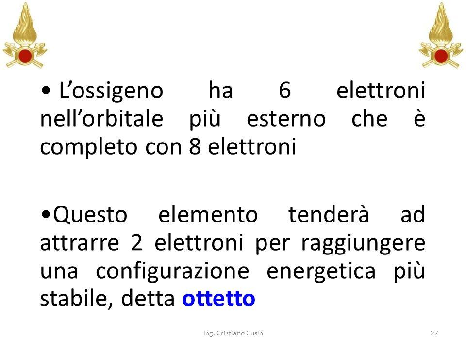27 Lossigeno ha 6 elettroni nellorbitale più esterno che è completo con 8 elettroni Questo elemento tenderà ad attrarre 2 elettroni per raggiungere un