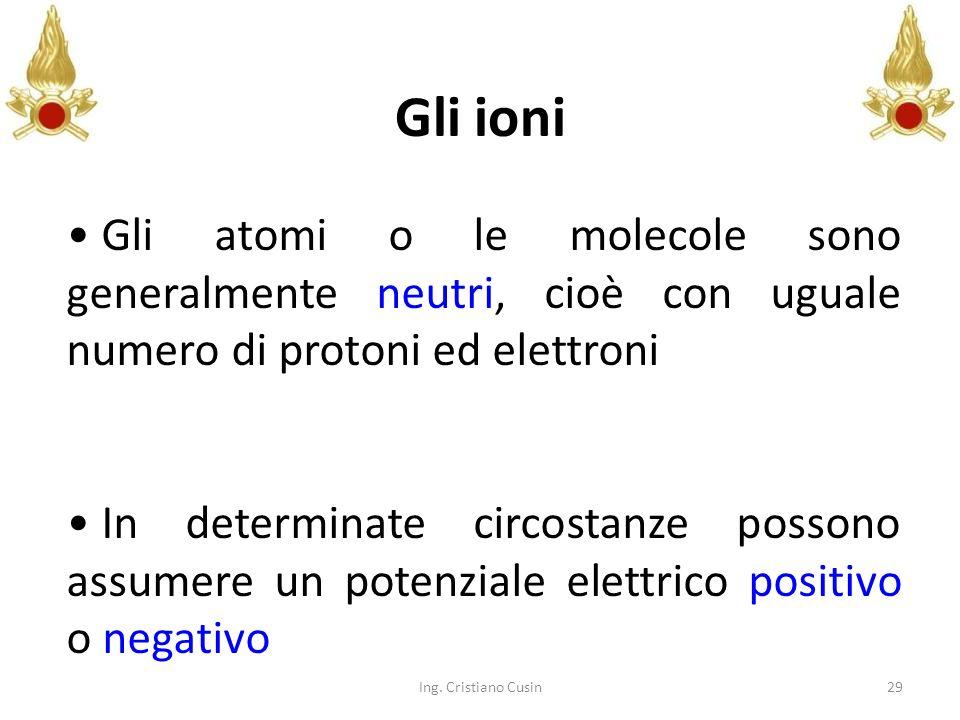 29 Gli ioni Gli atomi o le molecole sono generalmente neutri, cioè con uguale numero di protoni ed elettroni In determinate circostanze possono assume