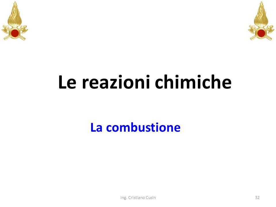 32 Le reazioni chimiche La combustione Ing. Cristiano Cusin