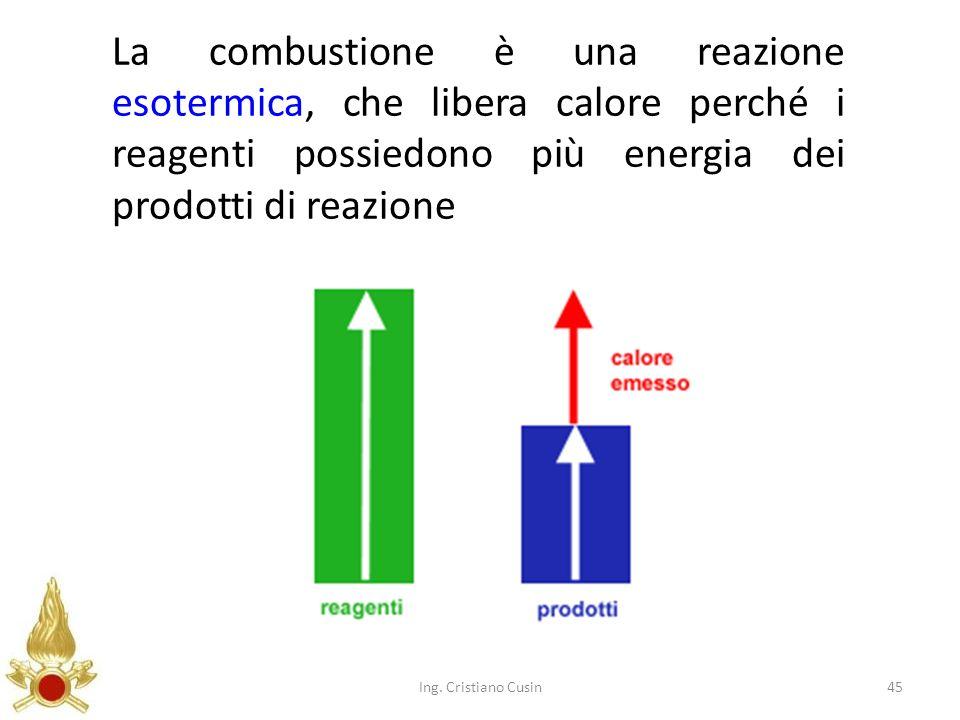45 La combustione è una reazione esotermica, che libera calore perché i reagenti possiedono più energia dei prodotti di reazione Ing. Cristiano Cusin