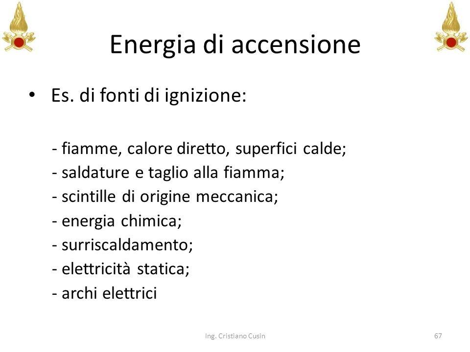 Energia di accensione Es. di fonti di ignizione: - fiamme, calore diretto, superfici calde; - saldature e taglio alla fiamma; - scintille di origine m