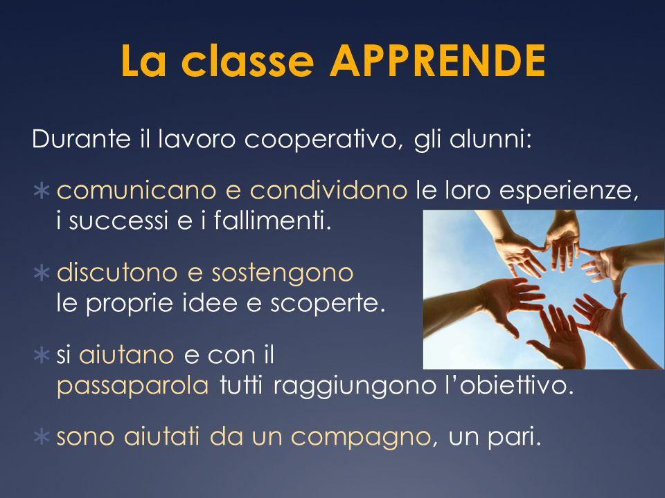 La classe APPRENDE Durante il lavoro cooperativo, gli alunni: comunicano e condividono le loro esperienze, i successi e i fallimenti. discutono e sost